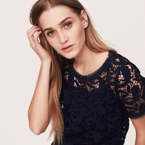NWT Loft Black Paisley Lace Crochet Top Large